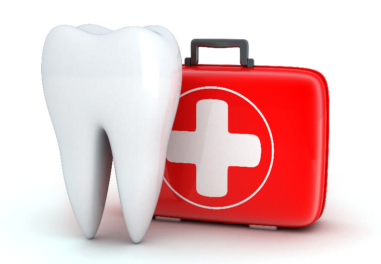 An image of a tooth next to a first aid kit | St. Paul, MN emergency dentist